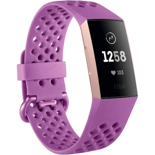 Fitbit - Charge 3 Activity Tracker + Heart Rate - Berry / Rose Gold