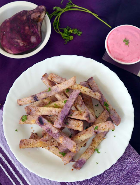 Purple Yam Fries Recipe in Marathi | Baked Yam | Dip's Diner