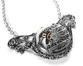 Steampunk Necklaces - Neo-Victorian STUNNING WALTHAM GUILLOCHE ETCHED POCKET WATCH Pendant Necklace on Vintage Silver FILIGREE - INCREDIBLE DETAILED ENGRAVING - Gorgeous Contours and LOADS OF GEARS - Another edmdesigns Exclusive on Etsy