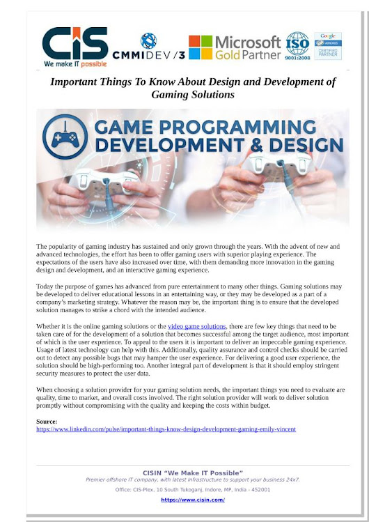 Important Things To Know About Design and Development of Gaming Solutions