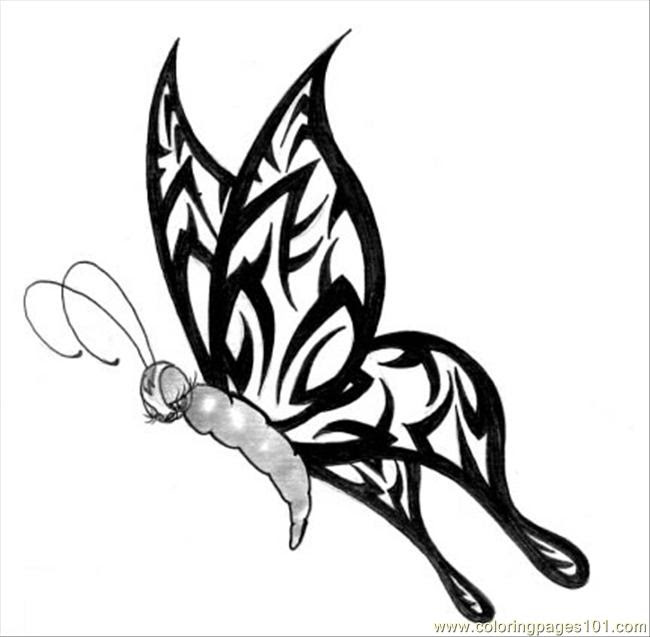 Butterfly Tattoo Design5 Coloring Page - Free Butterfly ...