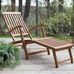 Outdoor Coral Coast Dorado Acacia Steamer Deck Lounge Chair