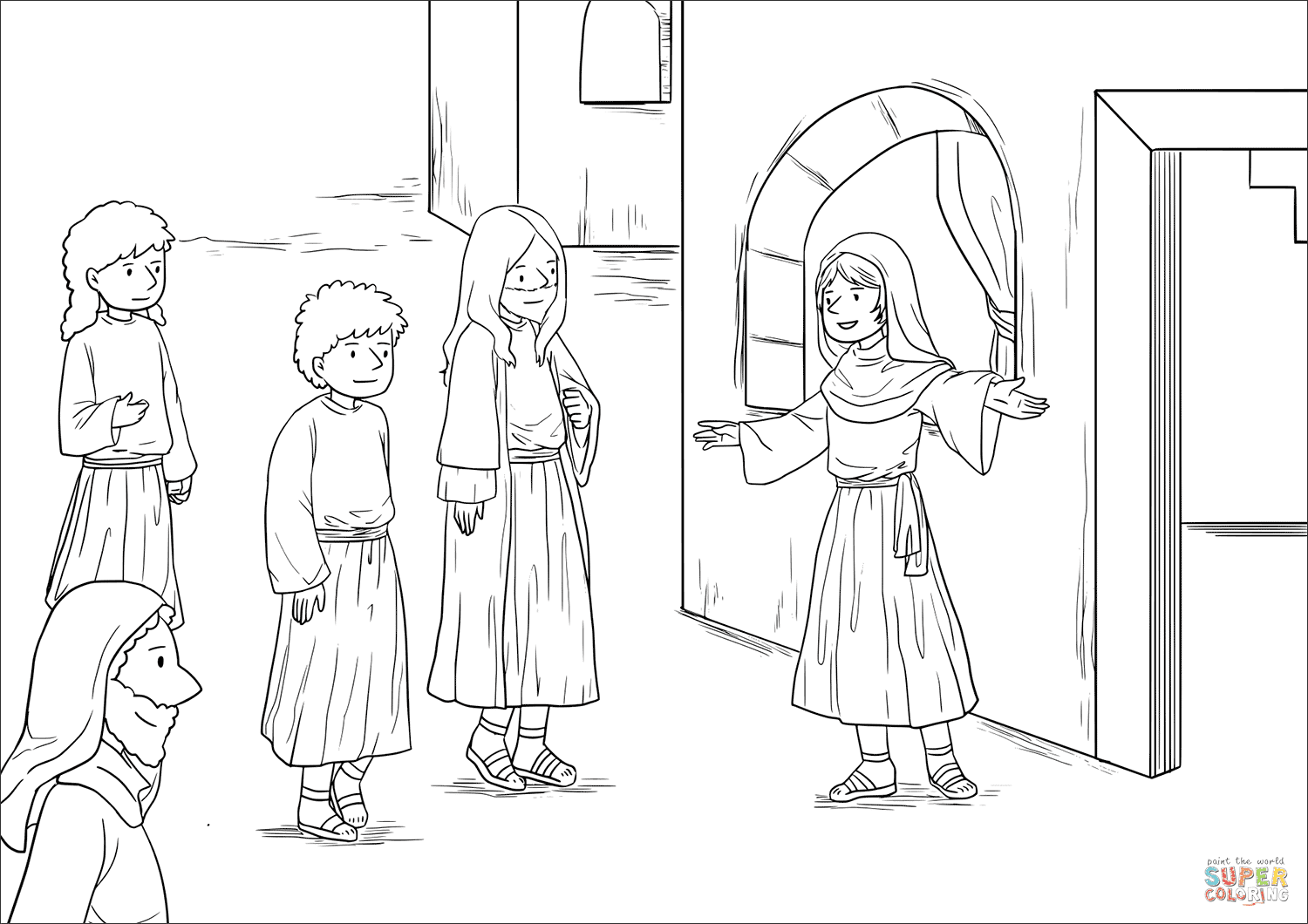 Jesus at the home of martha and mary luke 103842 coloring
