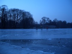 Patinadores no lago de Charlottenburg