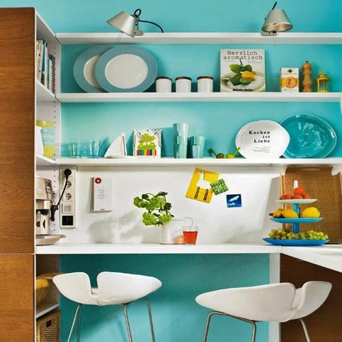 Turquoise Kitchen Area