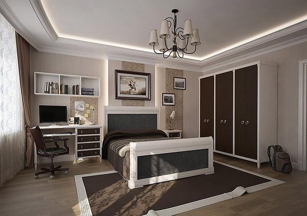 Stylish teenage boys' bedroom clad in brown and cream ...