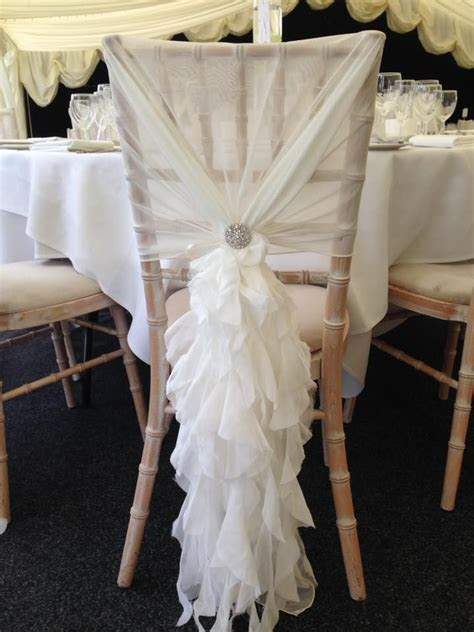 25 best Chiffon Ruffle Chair Cover Hoods and Wedding ideas