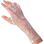 White Lace Gloves - 8842 - White - One Size