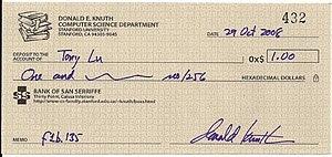 Donald Knuth reward check under the Bank of Sa...