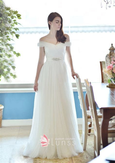 Ivory Tulle Off the shoulder Princess Floor Length A line