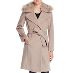 Tahari Womens Fiona Winter Wool Wrap Coat Taupe
