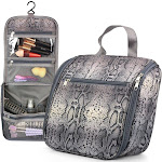 """Zodaca 11"""" Gray Snark Print Microfiber Fabric Cosmetic Make-up Bag for a business trip, camping, hiking, backpacking, travel and other outdoor"""