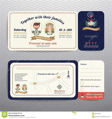 Nautical Ticket Hipster Bride And Groom Wedding Invitation