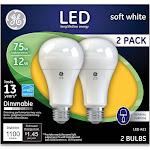 GE Light Bulb, LED, Soft White, 12 Watts, 2 Pack - 2 bulbs