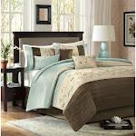 Madison Park Serene 7-Piece Comforter Set, Blue/Brown/Taupe, King