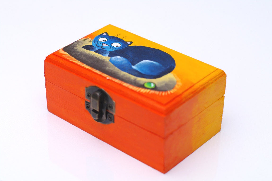 Hand painted box with blue cat / Bright orange small wooden treasure box for jewelry for trinket / Gift idea for children Gift for cat lover - AstaArtwork