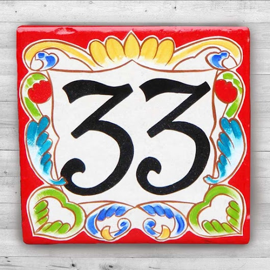"Ceramic house numbers, house number plaque, Italian house number design. house sign, house numbers, size 8x8"" - Milan red border. gifts"