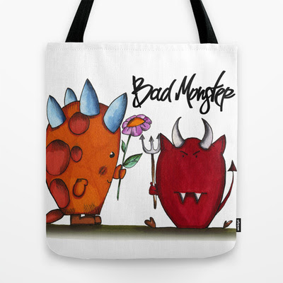 Bad Monster: Flower Tote Bag by Claudia Natali
