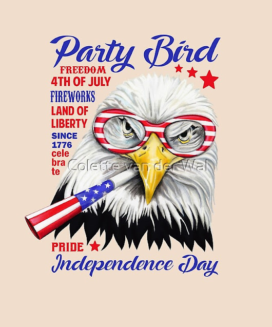 'Party Bird - Independence Day T-Shirt' by Colette van der Wal