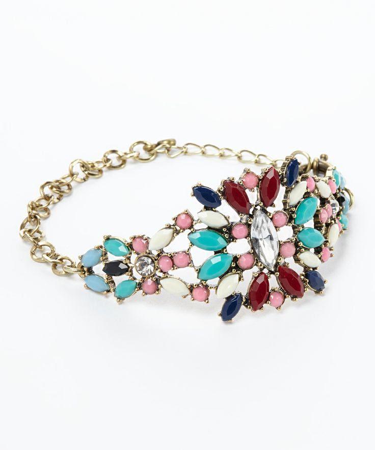 Teal & Pink Rhinestone Bracelet