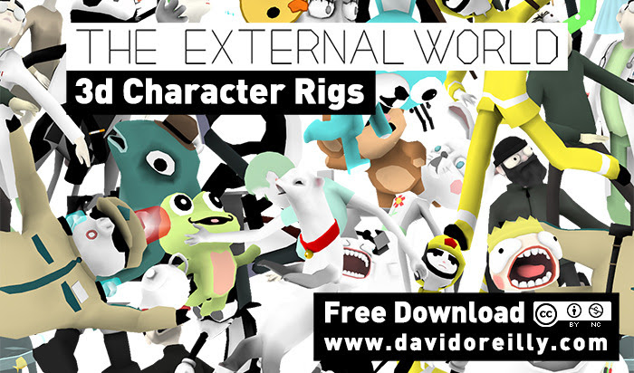 I've decided to release all 65 character rigs from my short film The External World as a free download. You can use and modify them in any way you like as long as it's for a non-commercial purpose. Showreels, short films, indie games, all that stuff is cool - just give credit. If it's web based - include a link to my site. I'm releasing these without a how-to (or support of any kind) but it should be very straight forward. They are extremely low-weight and easy to animate with, all are compatible with versions of Maya after 2010. Extra controls are available from the channel box when you select the head/hands/feet controls. Most if not all have FK/IK switching. Some have facial controls, others don't. These were custom built for whatever scenes they appeared in, but they have a lot of range and potential to do other stuff.  If you make something cool - tweet it at me, or post it on my facebook page. Excited to see what you guys come up with! DOWNLOAD HERE!