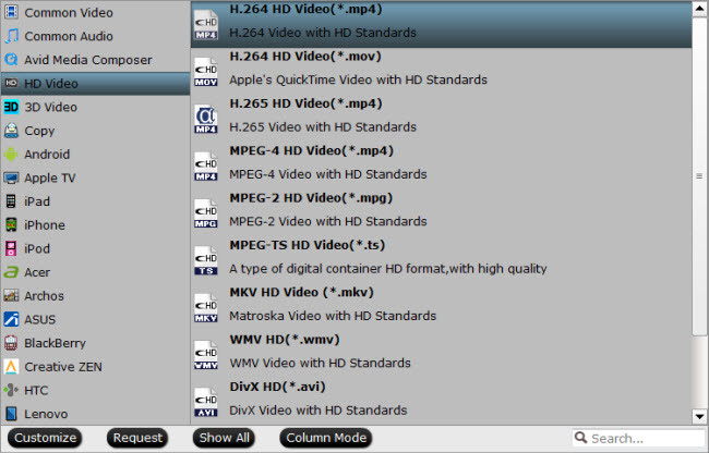 Choose VLC best supported HD file formats