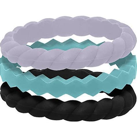 Qalo Women's Stackable Silicone Wedding Ring Set Multi