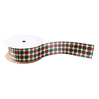 Red and Green Polka Dots on White Satin Ribbon