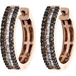 10K Rose Gold Round & Baguette Brown Diamond Tier Hoop/Huggie Earrings 1/2 CT.