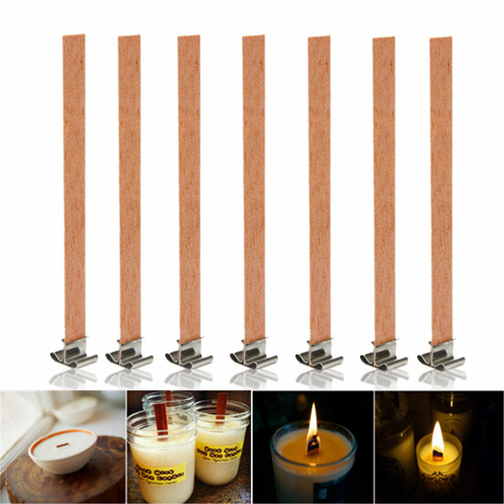10Pcs 13mm x 130mm Candle Wood Wick With Sustainer Tab ...