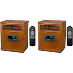 2 Lifesmart 6 Element 1800 Sq FT Portable Infrared Quartz Electric Space Heaters by VM Express
