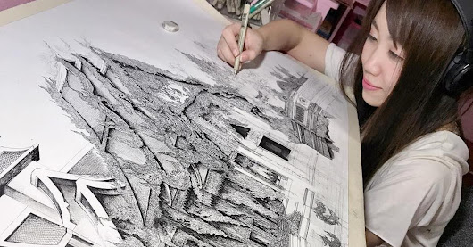 Japanese Artist Draws Architecture That Will Make You Lean in Real Close to See Every Detail