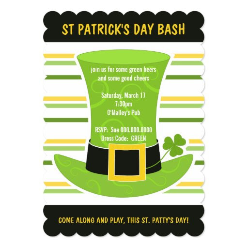 St Patrick's Day Bash Cool Green Top Hat Stripes 5x7 Paper Invitation Card