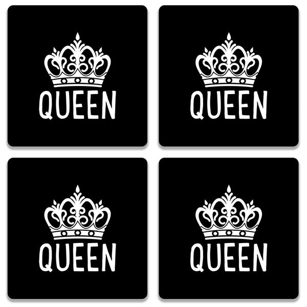 Coaster White Queen Crown On Black Colorpur Designer Coasters