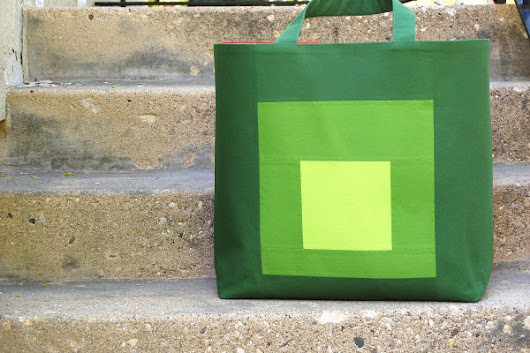Color Block Tote tutorial from We All Sew