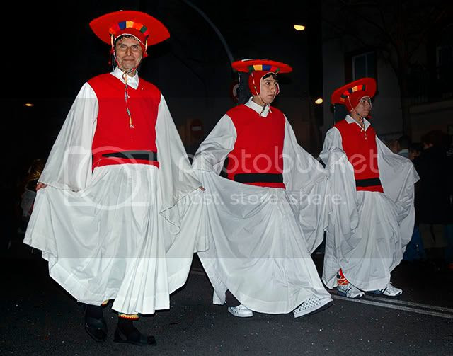 Carnival Costumes: Three Men In White, Barcelona, Spain [enlarge]