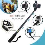 Premium 3 in 1 Handheld MONOPOD Pole for GoPro HERO Cameras, SMARTPHONES and ...