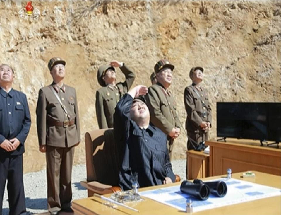 Kim Jong Un watched the launch of an intercontinental ballistic missile on July 4, in an image from video.