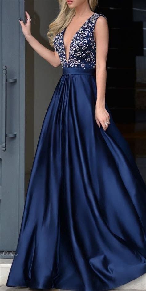 A line Sexy Deep V neckline Navy Blue Prom Dress