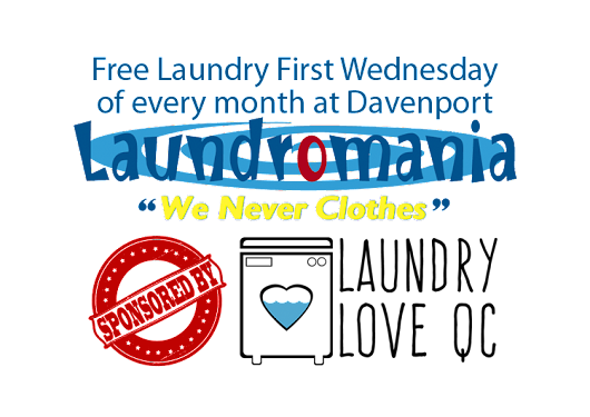 Wednesday April 6 2016 free laundry in Davenport, IA Laundromania