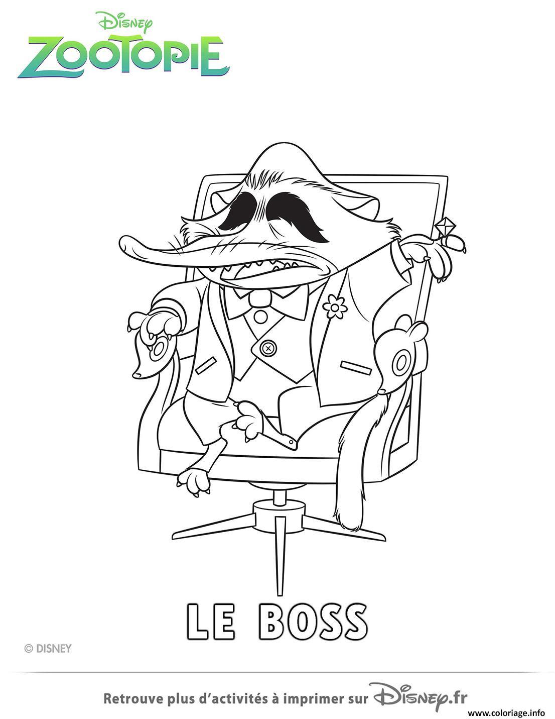Coloriage Mr Big Le Parrain Mafia De Zootopie Dessin  Imprimer