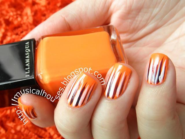 halloween nail art orange purple white stripes 3
