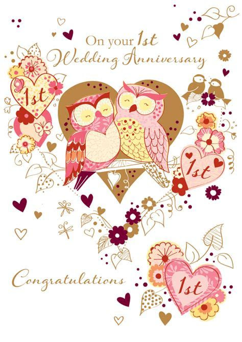 On Your 1st Wedding Anniversary Greeting Card   Cards