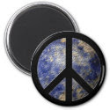 World Globe Peace Sign Magnet