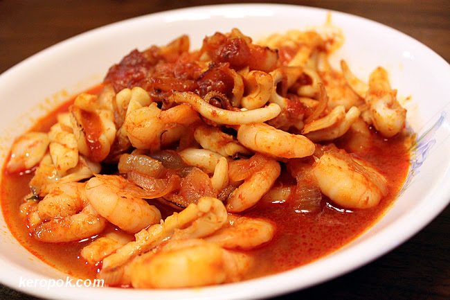 Sambal Sotong and Prawn