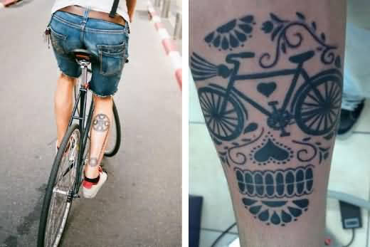 Passionate Cycle Men Show Outstanding Cycle With Chain Tattoo Design