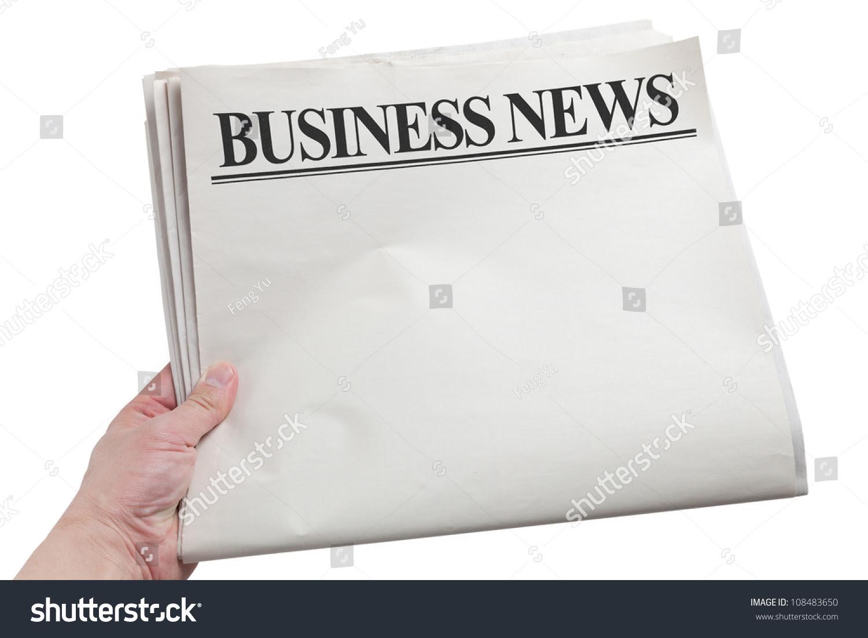 Business News Blank Newspaper White Background Stock Photo ...