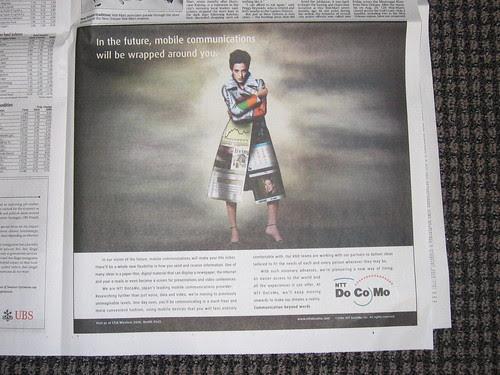 NTT DoCoMo advertising in USA Today by Gen Kanai.