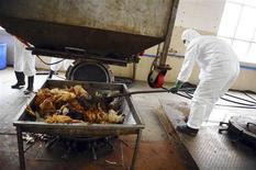 Unos empleados desechan los restos de unas aves no infectadas en una planta de tratamiento como parte de las medidas preventivas contra la gripe aviar H7N9 en Guangzhou, China, abr 16 2013. Los funcionarios de salud generaron nuevos interrogantes el viernes acerca de la fuente de una nueva cepa de gripe aviaria que está infectando humanos en China, luego de que los informes que indicaron que más de la mitad de los pacientes no tuvo contacto con aves de corral. REUTERS/Stringer