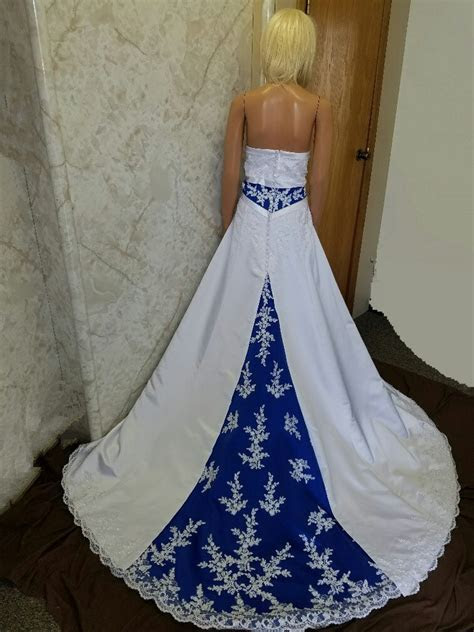 Royal blue empire banded wedding gown.